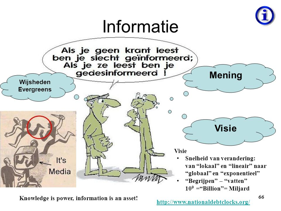 "Informatie 66 Mening Visie Wijsheden Evergreens Knowledge is power, information is an asset! Visie • Snelheid van verandering: van ""lokaal"" en ""lineai"