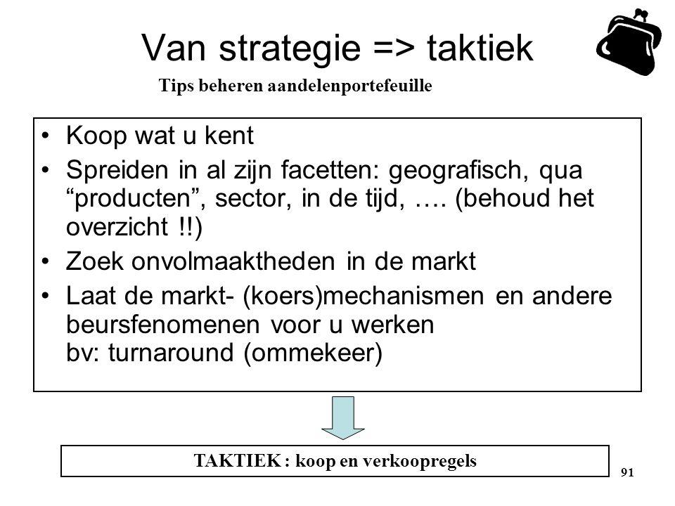 """Van strategie => taktiek •Koop wat u kent •Spreiden in al zijn facetten: geografisch, qua """"producten"""", sector, in de tijd, …. (behoud het overzicht !!"""