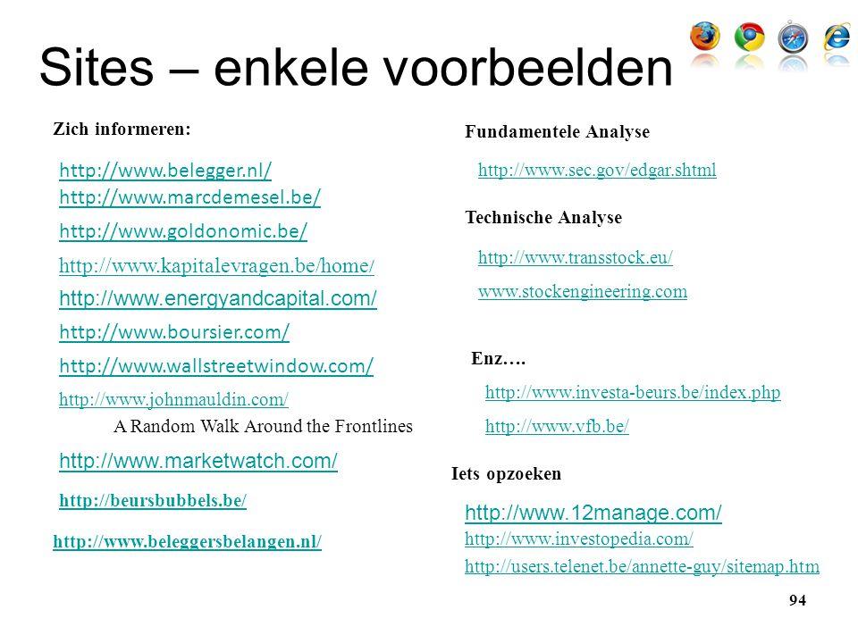 Sites – enkele voorbeelden http://www.boursier.com/ http://www.marcdemesel.be/ http://www.goldonomic.be/ http://www.wallstreetwindow.com/ http://www.b