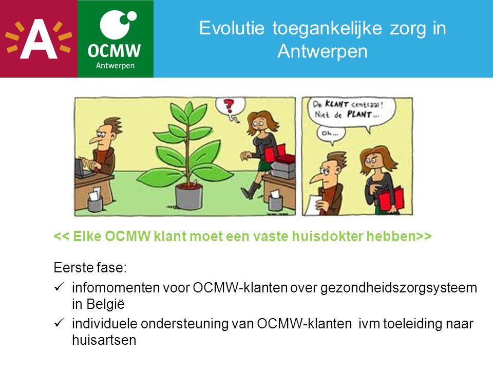 Evolutie toegankelijke zorg in Antwerpen > Eerste fase:  infomomenten voor OCMW-klanten over gezondheidszorgsysteem in België  individuele ondersteu