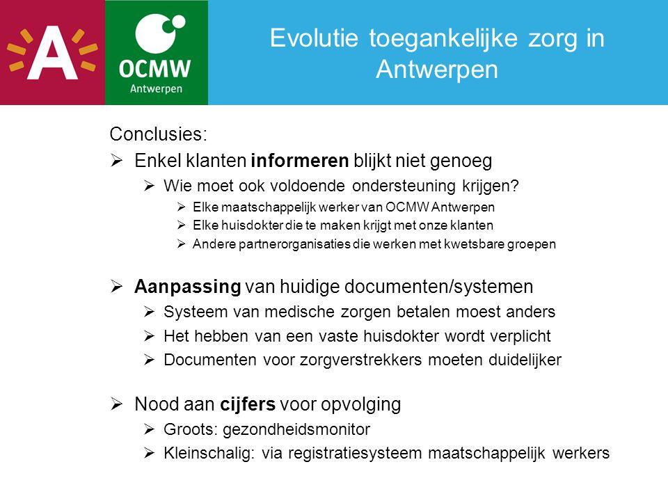 Evolutie toegankelijke zorg in Antwerpen Conclusies:  Enkel klanten informeren blijkt niet genoeg  Wie moet ook voldoende ondersteuning krijgen?  E