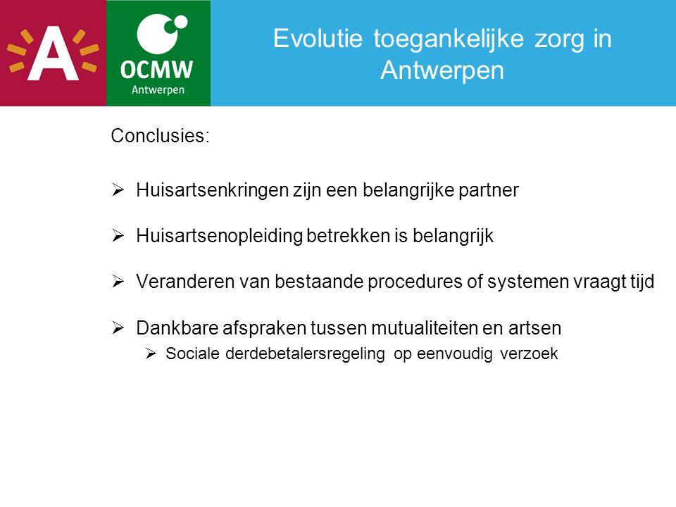 Evolutie toegankelijke zorg in Antwerpen Conclusies:  Huisartsenkringen zijn een belangrijke partner  Huisartsenopleiding betrekken is belangrijk 