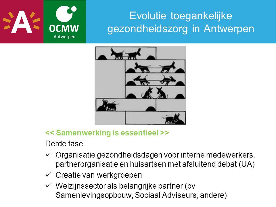 Evolutie toegankelijke gezondheidszorg in Antwerpen > Derde fase  Organisatie gezondheidsdagen voor interne medewerkers, partnerorganisatie en huisar