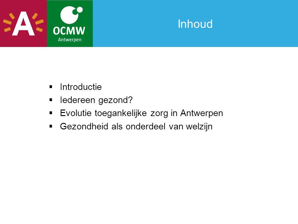Inhoud  Introductie  Iedereen gezond?  Evolutie toegankelijke zorg in Antwerpen  Gezondheid als onderdeel van welzijn