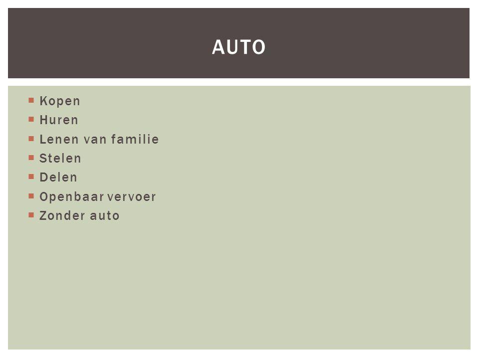  Auto's staan stil (23u per dag)  Occasioneel auto gebruik  Duur in aankoop/onderhoud  Ik hoef er geen voor mezelf te hebben  Milieu-aspect AUTODELEN