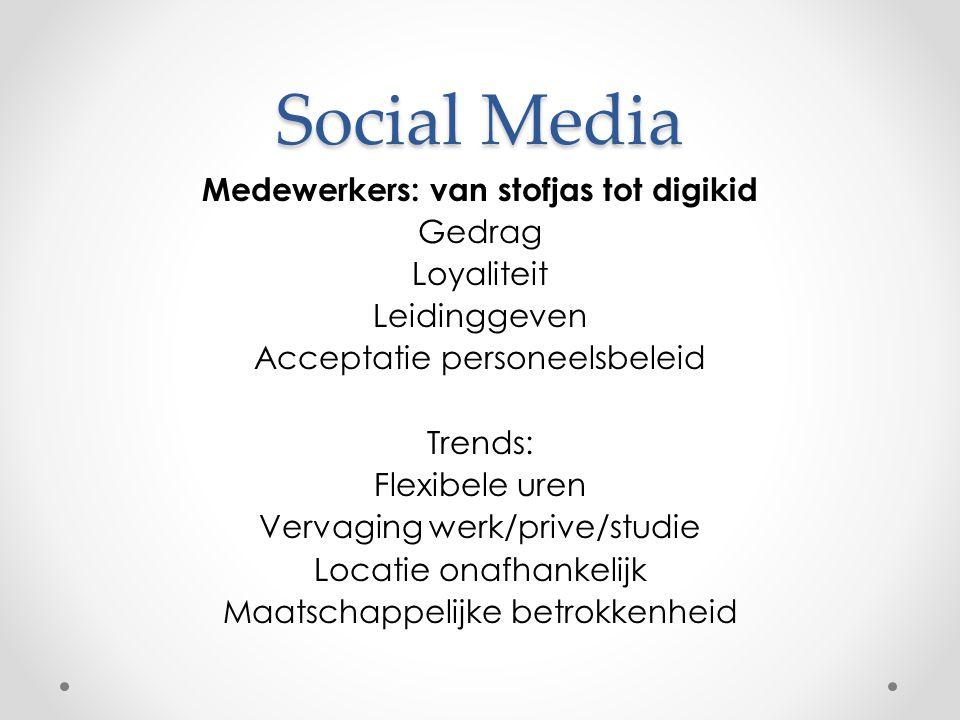Social Media Medewerkers: van stofjas tot digikid Gedrag Loyaliteit Leidinggeven Acceptatie personeelsbeleid Trends: Flexibele uren Vervaging werk/prive/studie Locatie onafhankelijk Maatschappelijke betrokkenheid