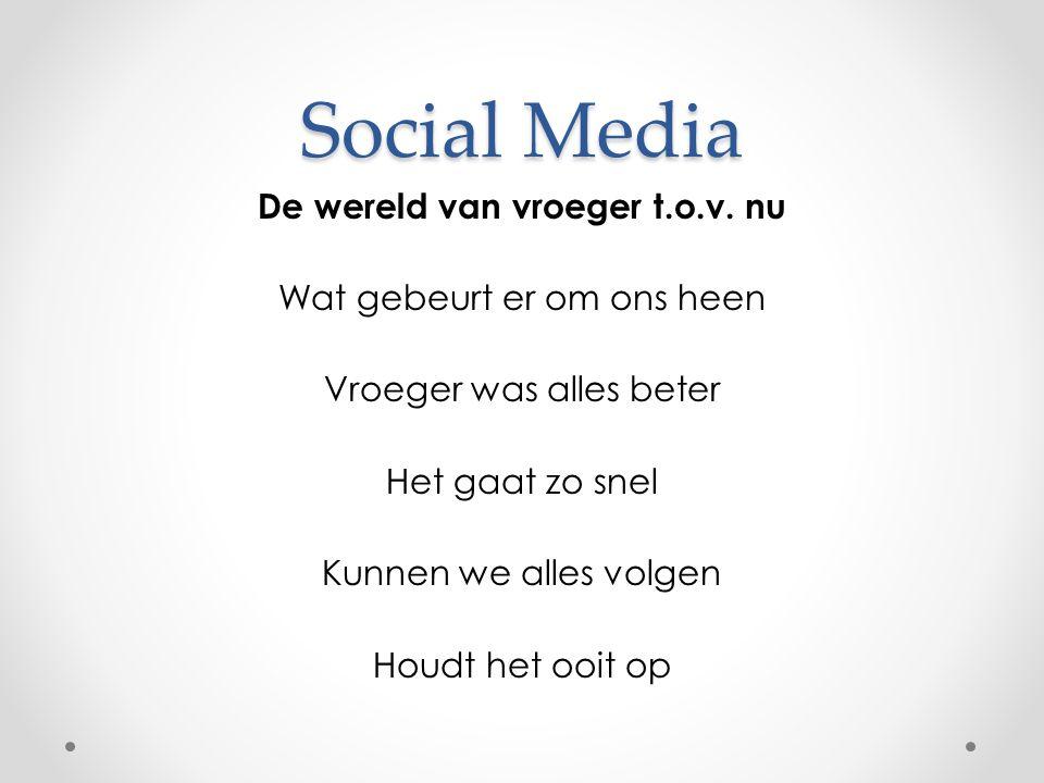 Social Media De wereld van vroeger t.o.v.