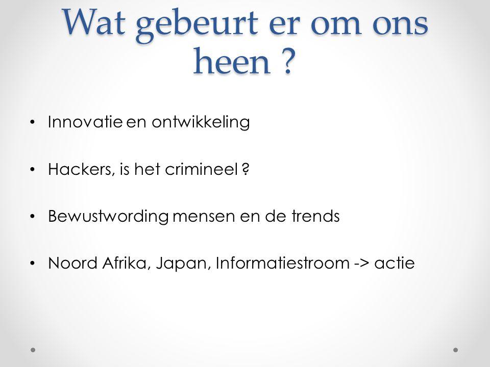 Wat gebeurt er om ons heen . • Innovatie en ontwikkeling • Hackers, is het crimineel .