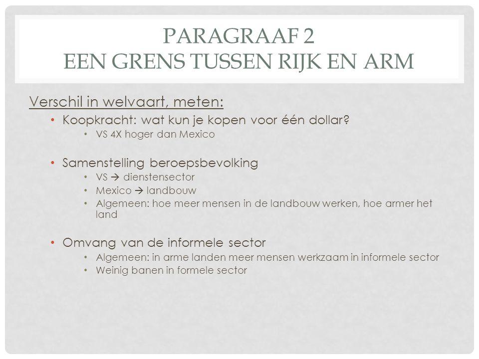 PARAGRAAF 2 EEN GRENS TUSSEN RIJK EN ARM Verschil in welvaart, meten: • Koopkracht: wat kun je kopen voor één dollar.