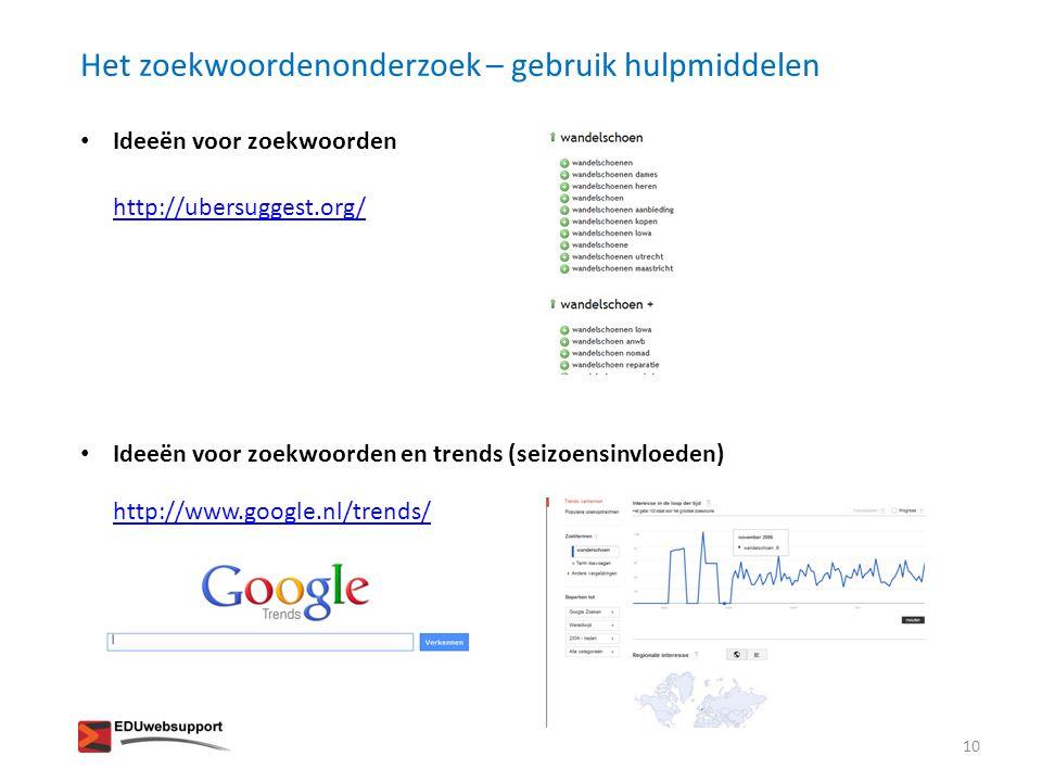 Het zoekwoordenonderzoek – gebruik hulpmiddelen • Ideeën voor zoekwoorden • Ideeën voor zoekwoorden en trends (seizoensinvloeden) http://ubersuggest.o