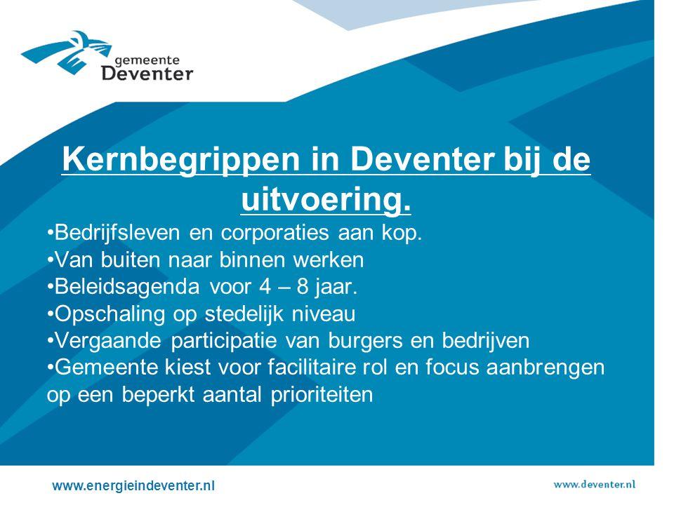 Kernbegrippen in Deventer bij de uitvoering. •Bedrijfsleven en corporaties aan kop.