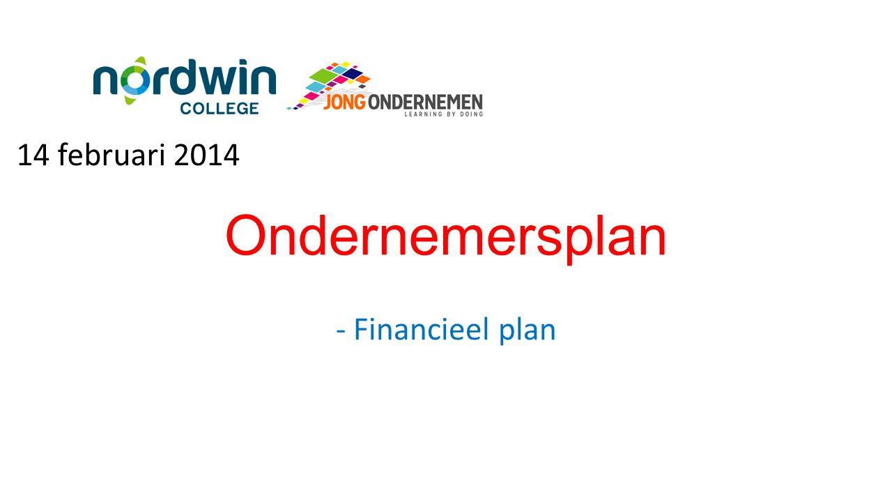 Ondernemersplan - Financieel plan 14 februari 2014