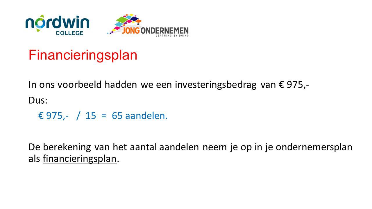 Financieringsplan In ons voorbeeld hadden we een investeringsbedrag van € 975,- Dus: € 975,- / 15 = 65 aandelen. De berekening van het aantal aandelen