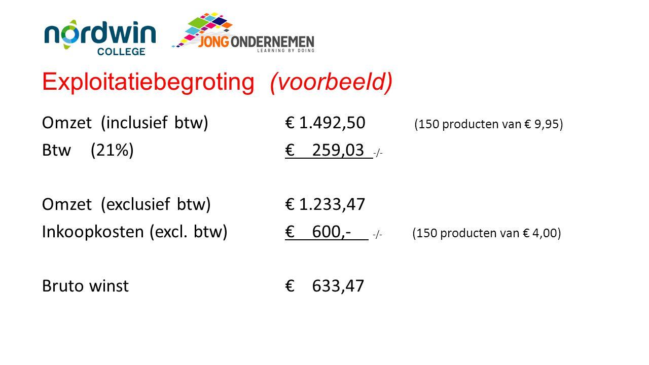 Exploitatiebegroting (voorbeeld) Omzet (inclusief btw) € 1.492,50 (150 producten van € 9,95) Btw(21%)€ 259,03 -/- Omzet (exclusief btw) € 1.233,47 Ink