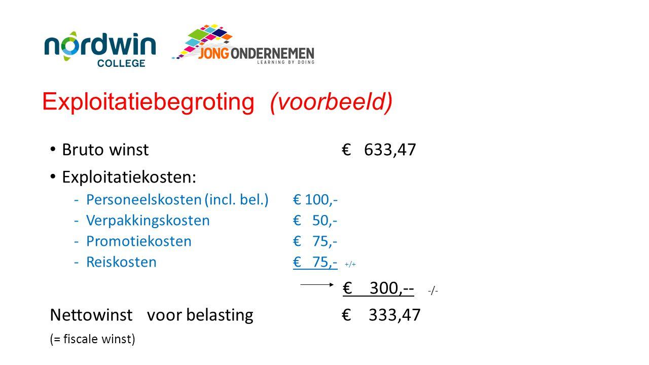 Exploitatiebegroting (voorbeeld) • Bruto winst€ 633,47 • Exploitatiekosten: -Personeelskosten (incl. bel.) € 100,- -Verpakkingskosten€ 50,- -Promotiek