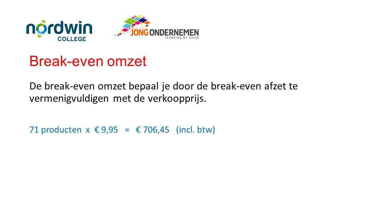 Break-even omzet De break-even omzet bepaal je door de break-even afzet te vermenigvuldigen met de verkoopprijs. 71 producten x € 9,95 = € 706,45 (inc