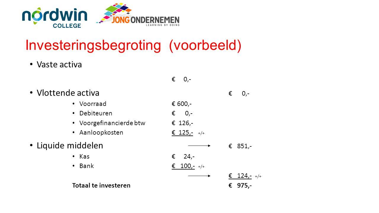 Exploitatiebegroting (overzicht) Omzet (inclusief btw) € 1.492,50 Btw (21%)€ 259,03 -/- Omzet (exclusief btw) € 1.233,47 Inkoopkosten (excl btw)€ 600,- -/- Bruto winst€ 633,47 Exploitatiekosten: -Personeelskosten € 100,- -Verpakkingskosten€ 50,- -Promotiekosten€ 75,- -Reiskosten€ 75,- +/+ € 300,-- -/- Nettowinst (voor belasting)€ 333,47 Vennootschapsbelasting (23%)€ 76,70 -/- Netto winst (na belasting)€ 256,77