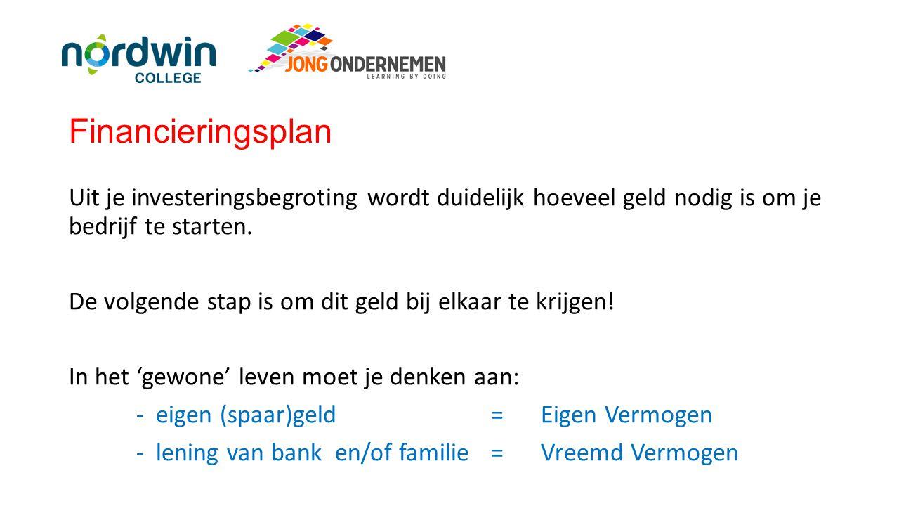 Financieringsplan Bij Jong Ondernemen bestaat je hele investeringsbedrag uit aandelenkapitaal.