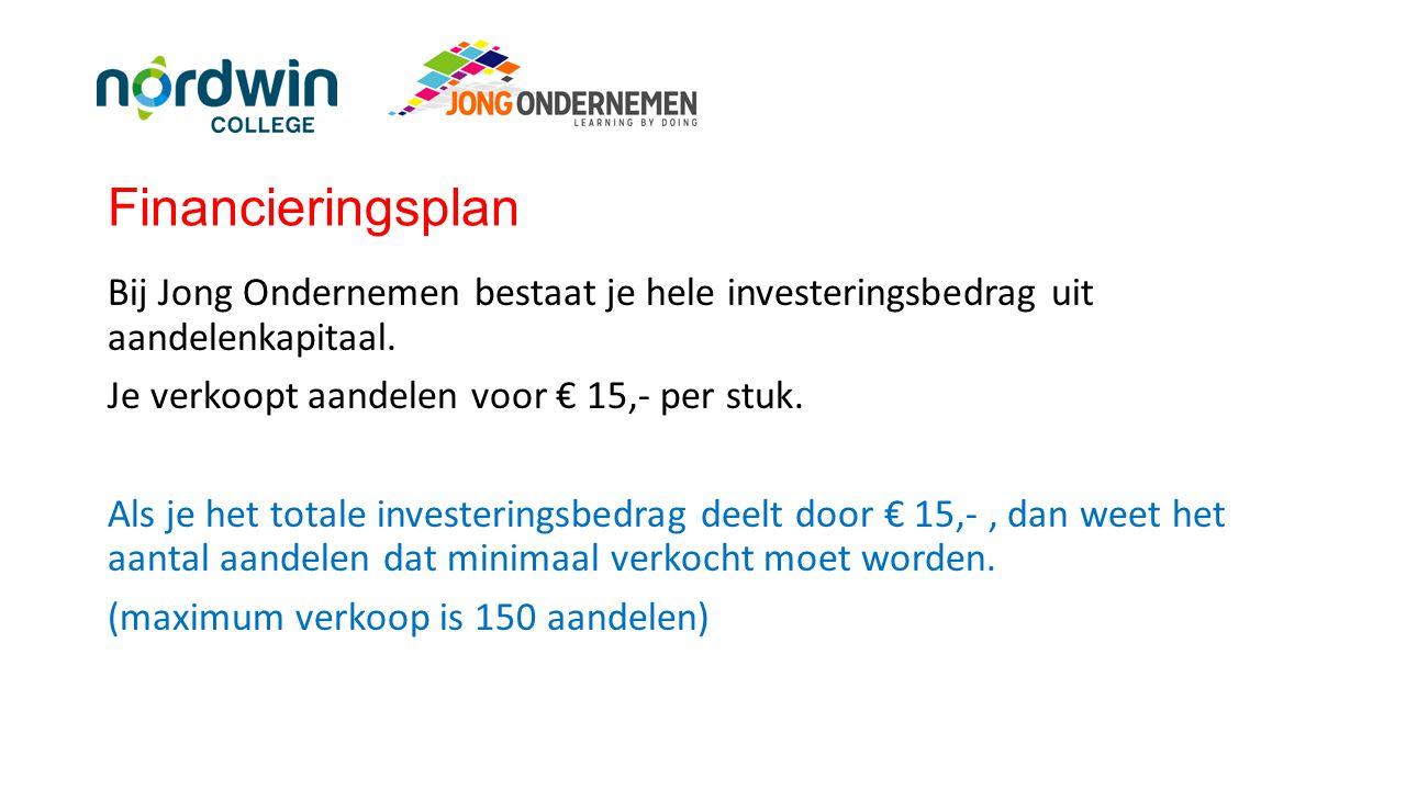 Financieringsplan Bij Jong Ondernemen bestaat je hele investeringsbedrag uit aandelenkapitaal. Je verkoopt aandelen voor € 15,- per stuk. Als je het t