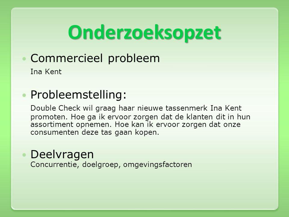 Onderzoeksopzet  Commercieel probleem Ina Kent  Probleemstelling: Double Check wil graag haar nieuwe tassenmerk Ina Kent promoten. Hoe ga ik ervoor