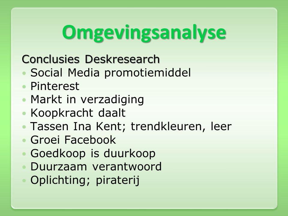 Omgevingsanalyse Conclusies Deskresearch  Social Media promotiemiddel  Pinterest  Markt in verzadiging  Koopkracht daalt  Tassen Ina Kent; trendk