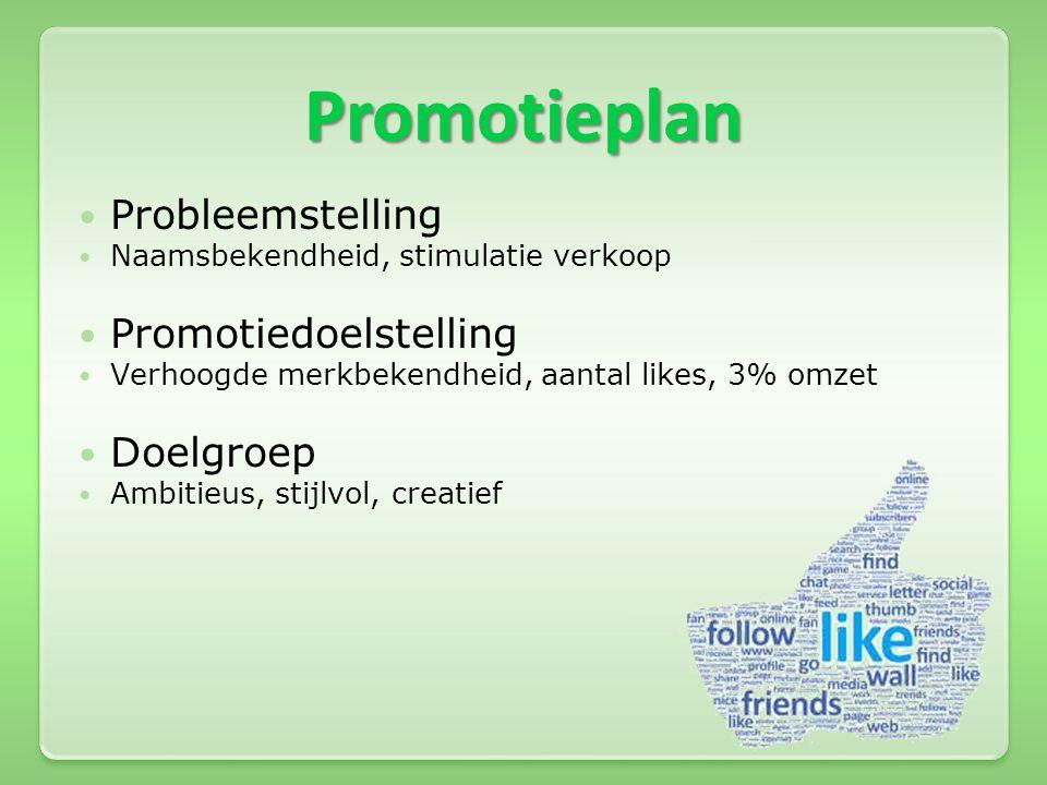 Promotieplan  Probleemstelling  Naamsbekendheid, stimulatie verkoop  Promotiedoelstelling  Verhoogde merkbekendheid, aantal likes, 3% omzet  Doel