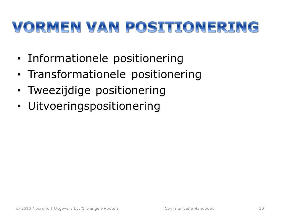 • Informationele positionering • Transformationele positionering • Tweezijdige positionering • Uitvoeringspositionering © 2010 Noordhoff Uitgevers bv,