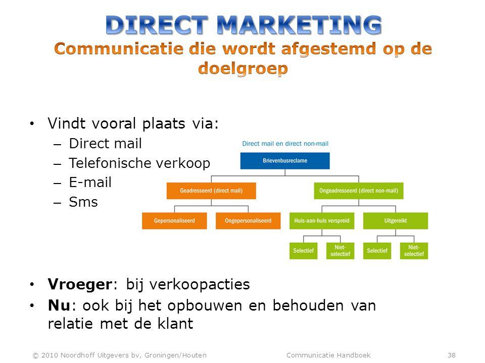 • Vindt vooral plaats via: – Direct mail – Telefonische verkoop – E-mail – Sms • Vroeger: bij verkoopacties • Nu: ook bij het opbouwen en behouden van