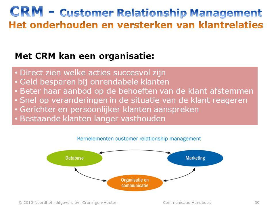 Met CRM kan een organisatie: • Direct zien welke acties succesvol zijn • Geld besparen bij onrendabele klanten • Beter haar aanbod op de behoeften van