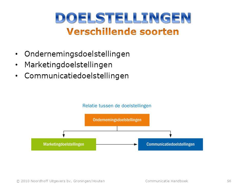 • Ondernemingsdoelstellingen • Marketingdoelstellingen • Communicatiedoelstellingen © 2010 Noordhoff Uitgevers bv, Groningen/Houten Communicatie Handb