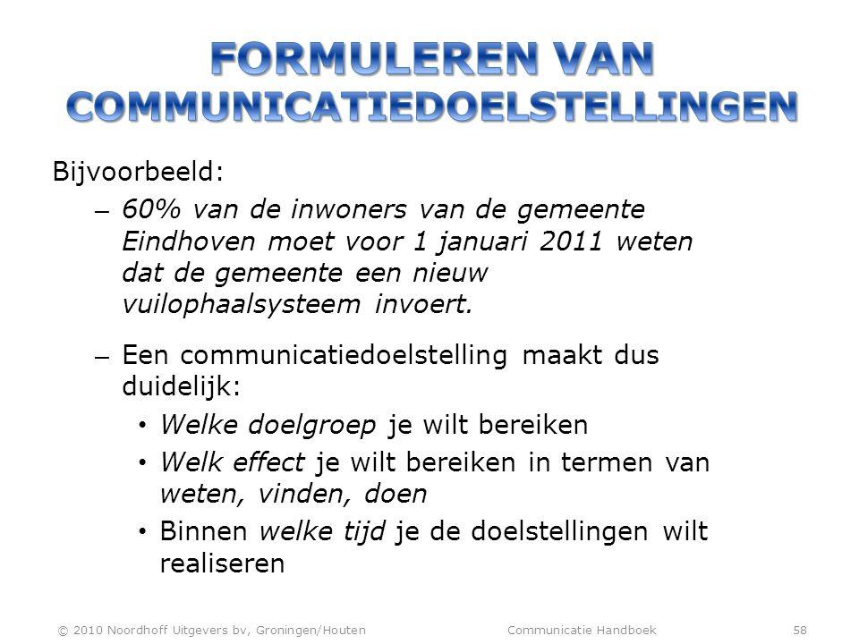 Bijvoorbeeld: – 60% van de inwoners van de gemeente Eindhoven moet voor 1 januari 2011 weten dat de gemeente een nieuw vuilophaalsysteem invoert. – Ee