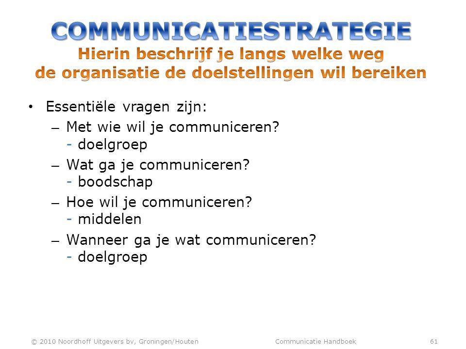 • Essentiële vragen zijn: – Met wie wil je communiceren? - doelgroep – Wat ga je communiceren? - boodschap – Hoe wil je communiceren? - middelen – Wan