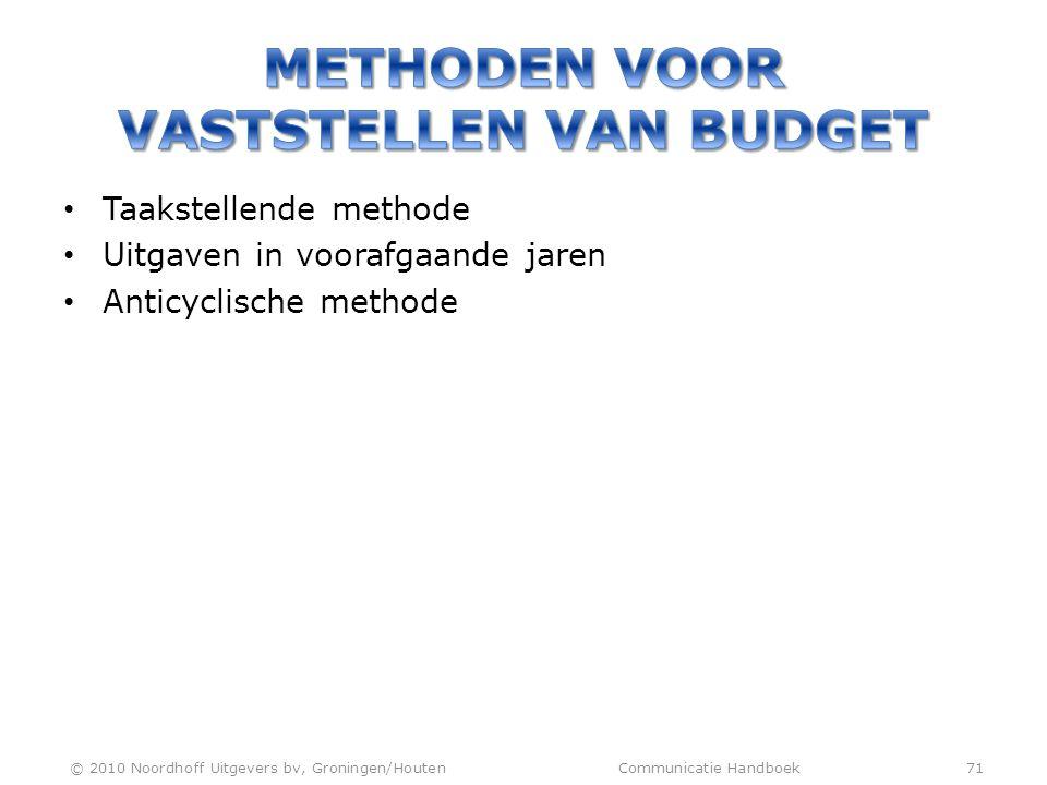 • Taakstellende methode • Uitgaven in voorafgaande jaren • Anticyclische methode © 2010 Noordhoff Uitgevers bv, Groningen/Houten Communicatie Handboek