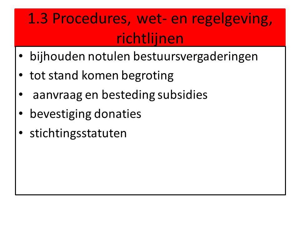 1.3 Procedures, wet- en regelgeving, richtlijnen • bijhouden notulen bestuursvergaderingen • tot stand komen begroting • aanvraag en besteding subsidi