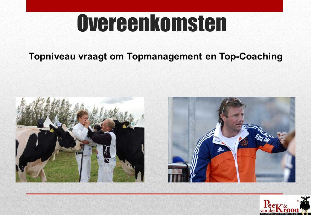 Overeenkomsten Topniveau vraagt om Topmanagement en Top-Coaching