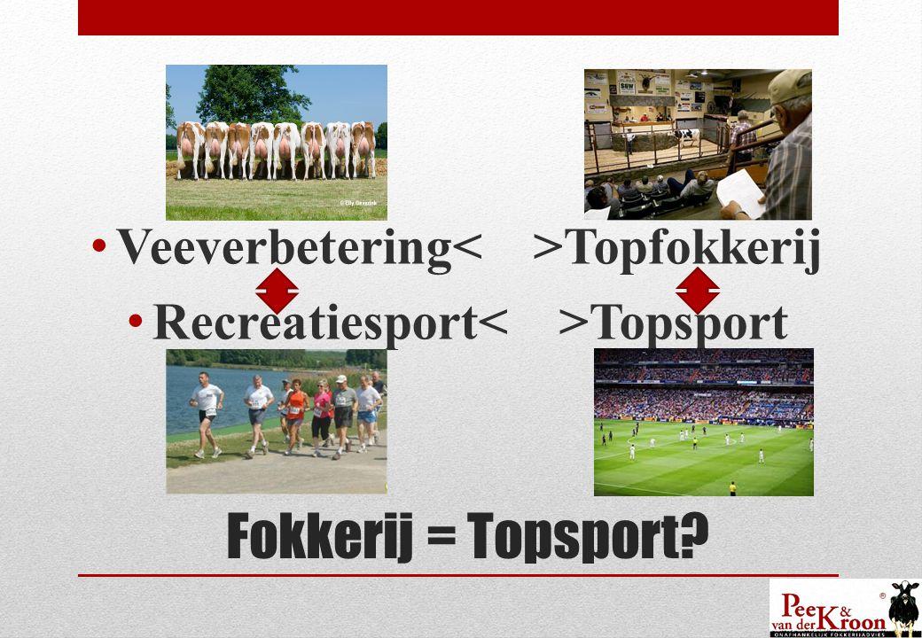 Fokkerij = Topsport • Veeverbetering Topfokkerij • Recreatiesport Topsport