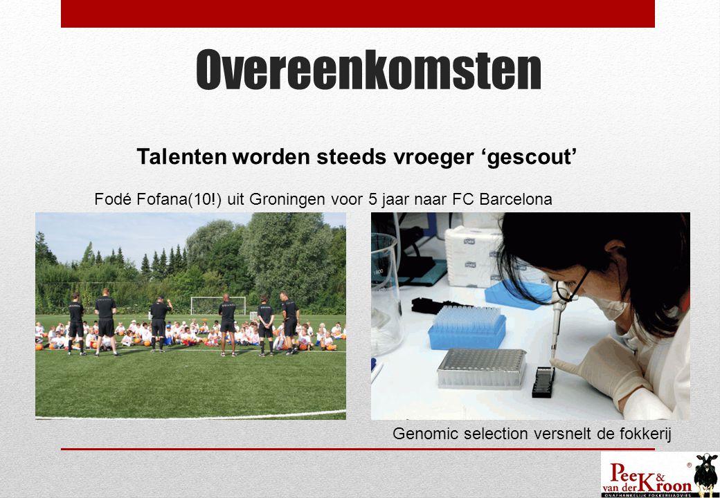 Overeenkomsten Talenten worden steeds vroeger 'gescout' Fodé Fofana(10!) uit Groningen voor 5 jaar naar FC Barcelona Genomic selection versnelt de fokkerij