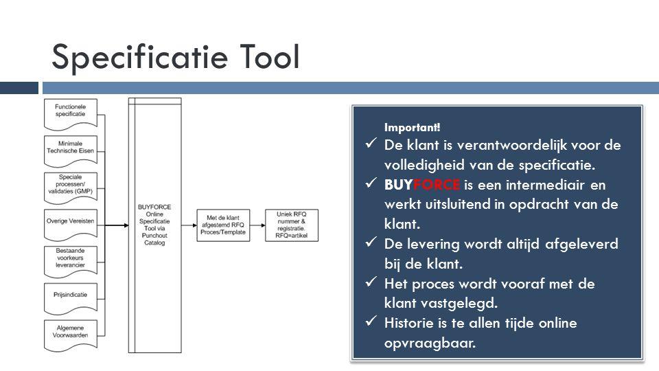 Specificatie Tool Important!  De klant is verantwoordelijk voor de volledigheid van de specificatie.  BUYFORCE is een intermediair en werkt uitsluit