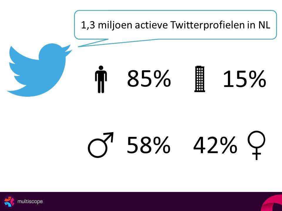 1,3 miljoen actieve Twitterprofielen in NL 85% 15% 58%42%