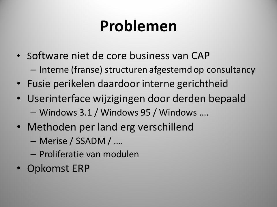 Problemen • S oftware niet de core business van CAP – Interne (franse) structuren afgestemd op consultancy • Fusie perikelen daardoor interne gerichtheid • Userinterface wijzigingen door derden bepaald – Windows 3.1 / Windows 95 / Windows ….