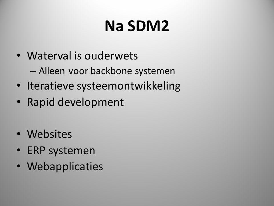 Na SDM2 • Waterval is ouderwets – Alleen voor backbone systemen • Iteratieve systeemontwikkeling • Rapid development • Websites • ERP systemen • Webapplicaties