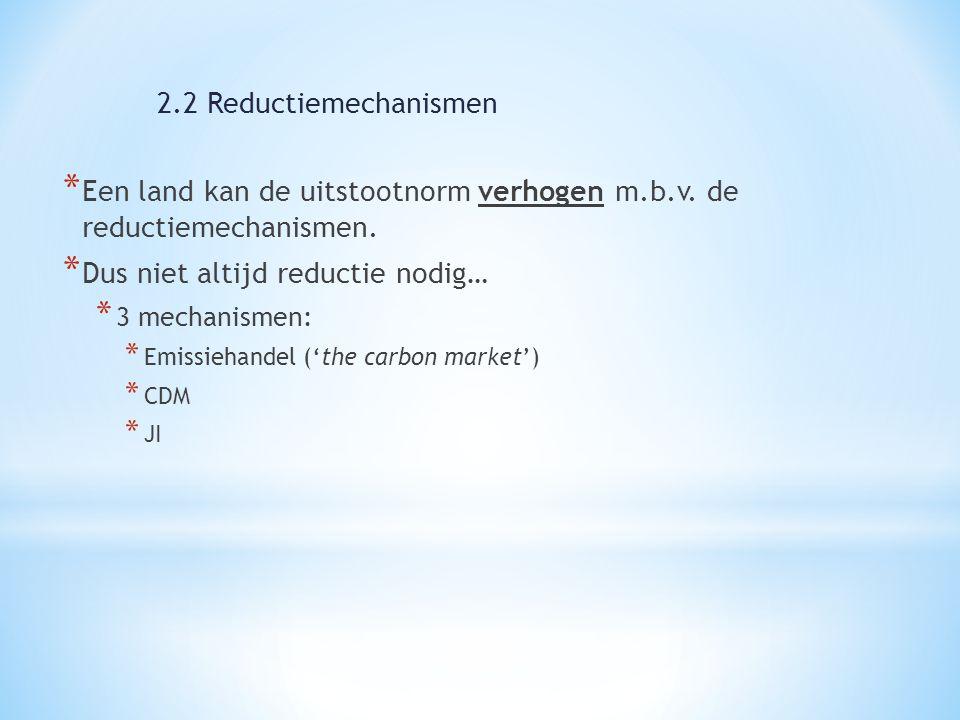 * Een land kan de uitstootnorm verhogen m.b.v. de reductiemechanismen. * Dus niet altijd reductie nodig… * 3 mechanismen: * Emissiehandel ('the carbon