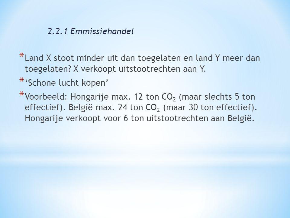* Land X stoot minder uit dan toegelaten en land Y meer dan toegelaten? X verkoopt uitstootrechten aan Y. * 'Schone lucht kopen' * Voorbeeld: Hongarij