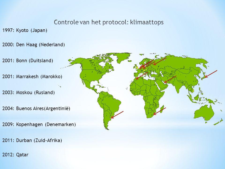 1997: Kyoto (Japan) 2000: Den Haag (Nederland) 2001: Bonn (Duitsland) 2001: Marrakesh (Marokko) 2003: Moskou (Rusland) 2004: Buenos Aires(Argentinië) 2009: Kopenhagen (Denemarken) 2011: Durban (Zuid-Afrika) 2012: Qatar