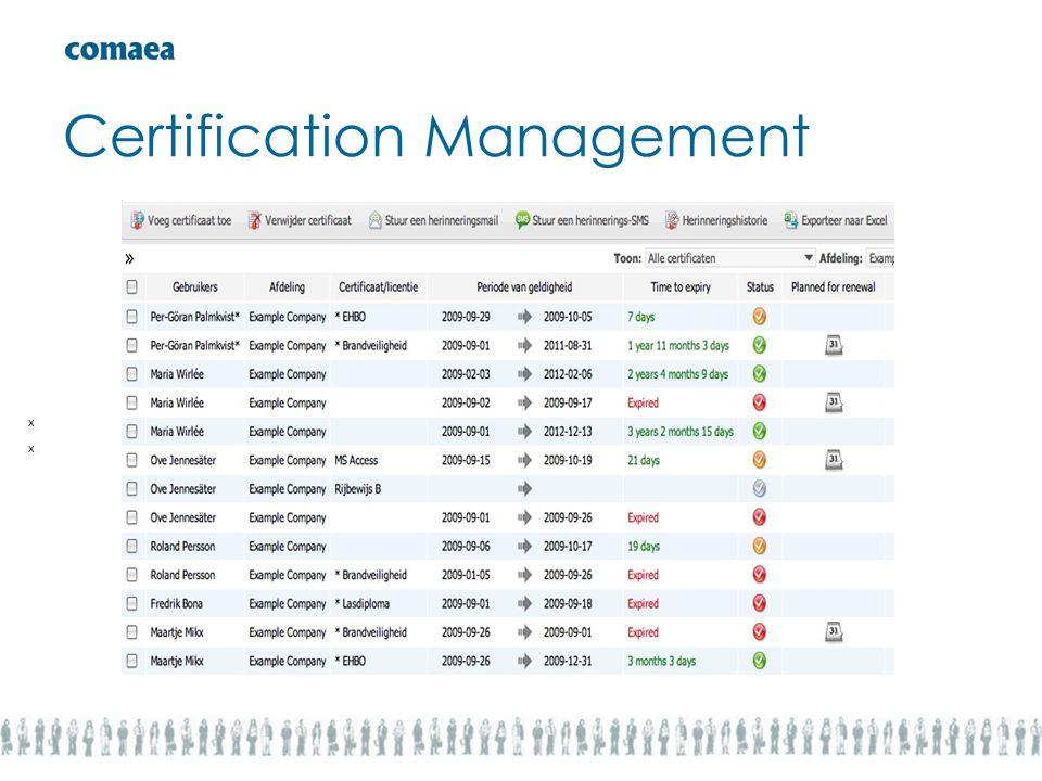 Certification Management x x