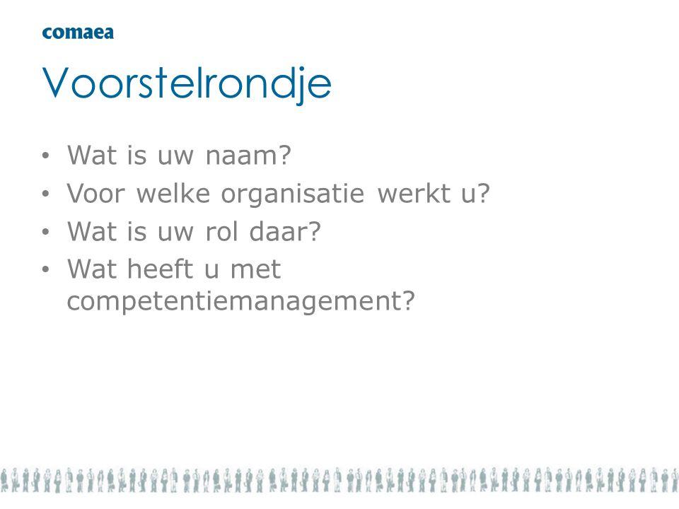Voorstelrondje • Wat is uw naam? • Voor welke organisatie werkt u? • Wat is uw rol daar? • Wat heeft u met competentiemanagement?