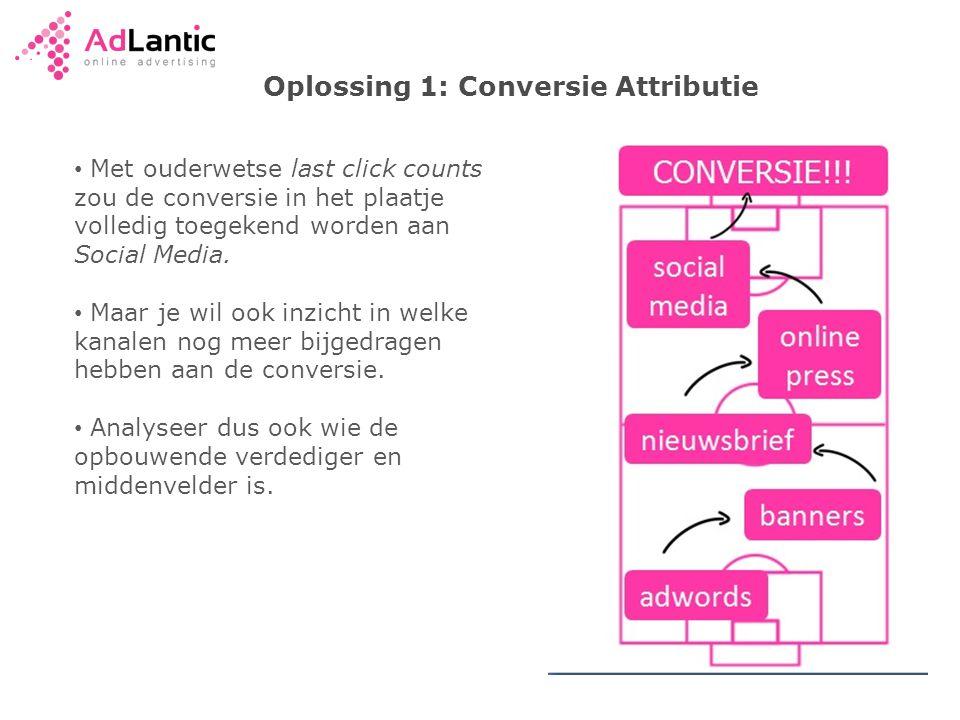 Oplossing 1: Conversie Attributie • Met ouderwetse last click counts zou de conversie in het plaatje volledig toegekend worden aan Social Media.