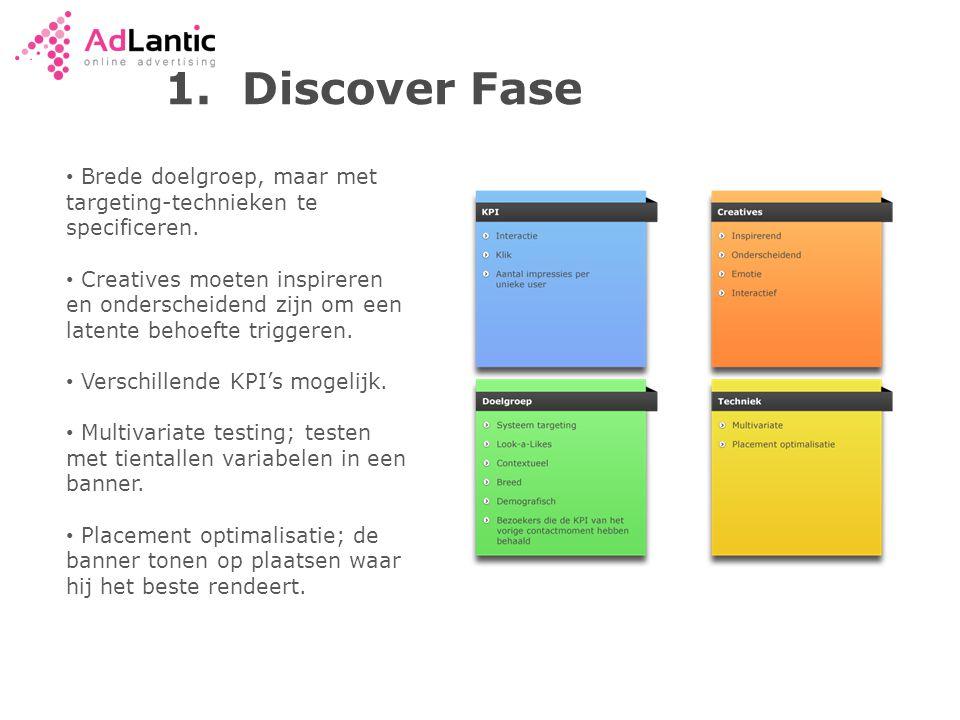 1.Discover Fase • Brede doelgroep, maar met targeting-technieken te specificeren.