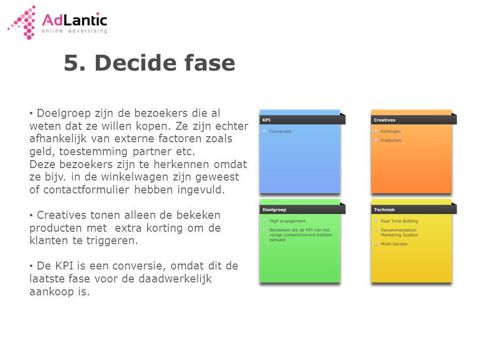 5.Decide fase • Doelgroep zijn de bezoekers die al weten dat ze willen kopen.