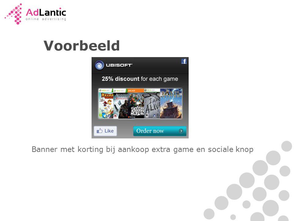 Voorbeeld Banner met korting bij aankoop extra game en sociale knop